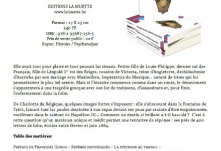 Un nouveau livre : Charlotte de Belgique, une folie impériale